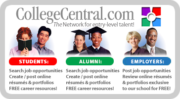 Job search, resume and portfolio services powered by College Central Network